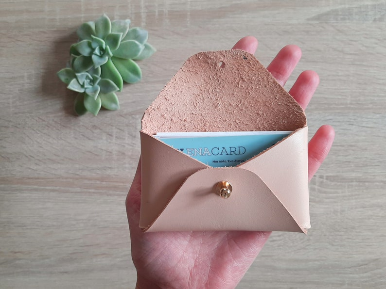 Nude leather card case  Personalized nude envelope card holder  Nude leather business card case  Genuine leather  Christmas gift
