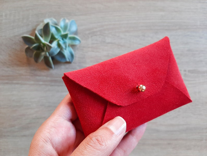 Red suede leather card case  Personalised red envelope card holder  Red leather business card case  Genuine leather  Christmas gift