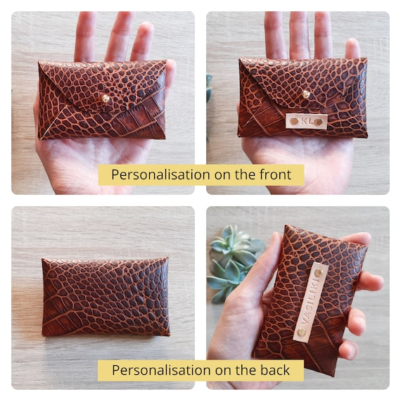 Gold leather card case  Personalized gold envelope card holder  Gold leather business card case  Genuine leather  Christmas gift