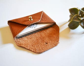 Brown leather card case / Personalized brown envelope card holder / Brown leather business card case / Genuine leather / Christmas gift