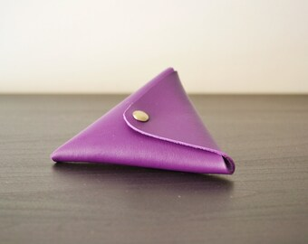 Purple leather triangle coin purse / Triangle coin wallet / Leather coin pouch / Change wallet / Genuine leather