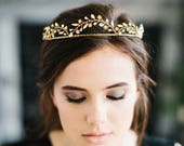 CASSIOPEIA romantic bridal tiara with flowers, crystals and pearls, bohemian scalloped wedding crown headpiece