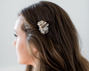 DIANA rose quartz bridal comb, raw crystal boho wedding comb, pearl bohemian style bridesmaid gift headpiece