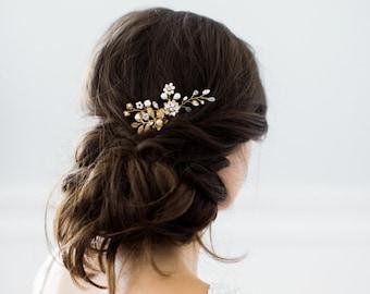 RACHEL floral gold bohemian bridal hair comb, boho delicate vine pearl crystal wedding comb, glam leaves headpiece