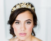 CAMELLIA bohemian bridal tiara, romantic gold wedding crown, boho headpiece with leaves and crystals