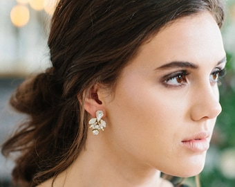 JUPITER glam art deco opal wedding studs, crystal bling statement bridal earrings, bridesmaid gift