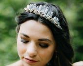 ANDES smokey quartz boho bridal tiara, bohemian raw crystal wedding crown
