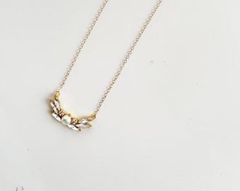 LILAH crystal art deco bridal necklace, boho bohemian pearl pendant wedding jewelry