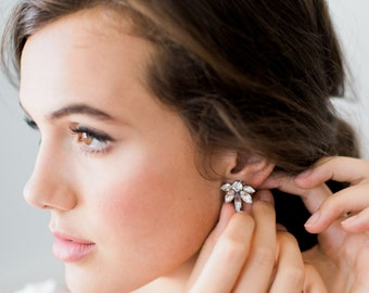 EVANGELINE glamorous statement stud wedding earrings, glam petite crystal art deco bridal earrings, bohemian bridesmaid gift
