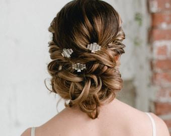 RITA - Set of 3 art deco vintage inspired crystal bobby pins, baguette rhinestone glamorous bridal hair pins, bohemian bridal hair accessory