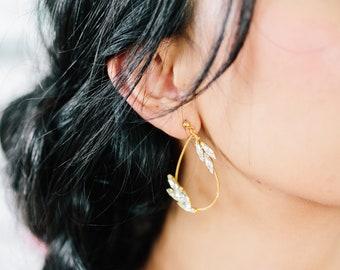 WYETH - bohemian bridal drop hoop earrings, statement wedding jewelry