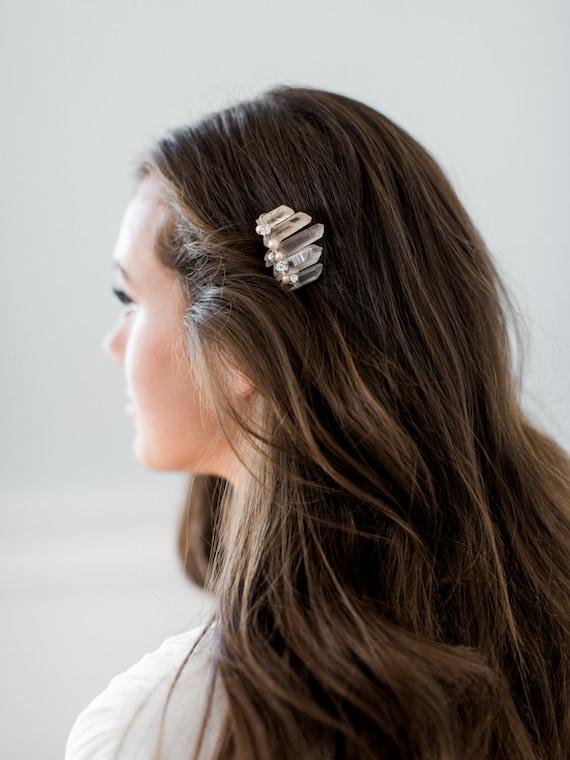 raw crystal boho wedding hair piece SIERRA smokey quartz edgy bohemian bridal comb
