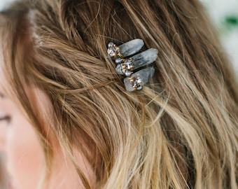 SIERRA smokey quartz edgy bohemian bridal comb, raw crystal boho wedding hair piece