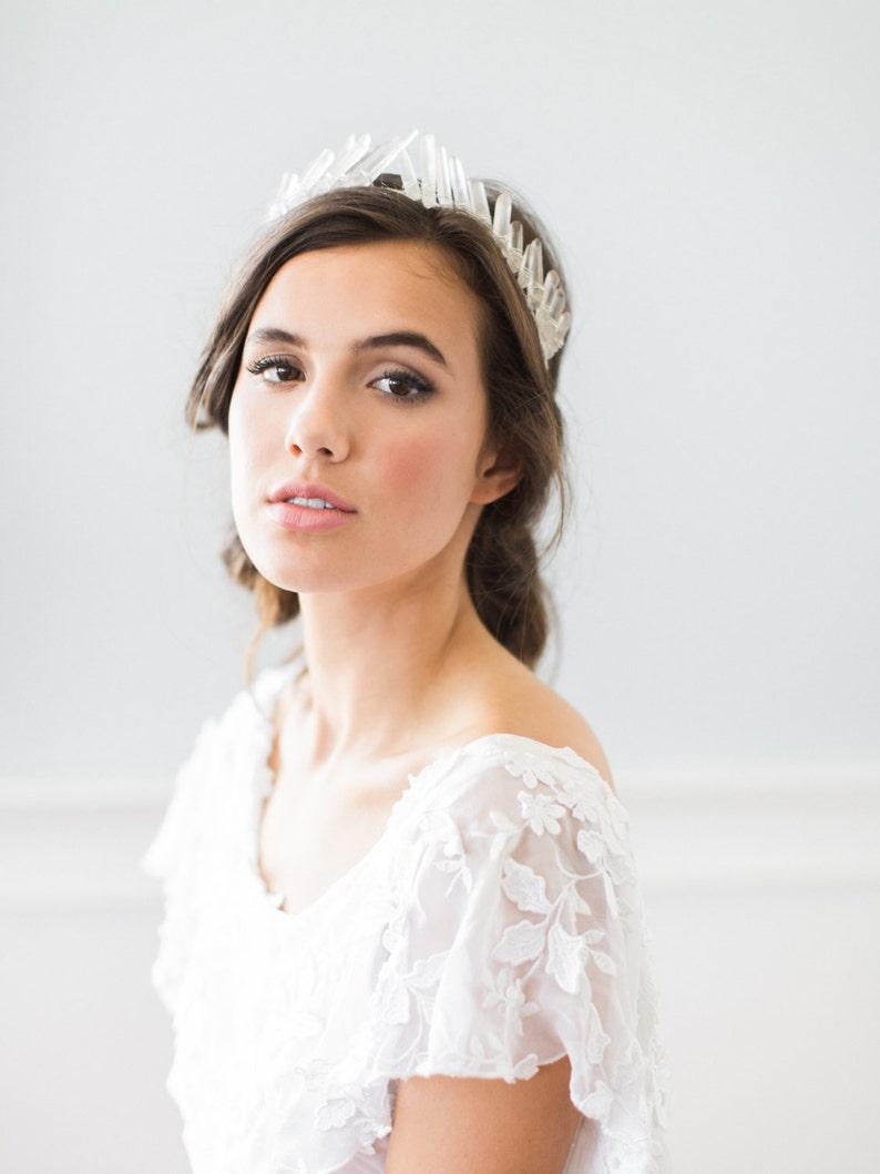 ISOLDE quartz crystal bridal tiara bohemian raw geode wedding image 0