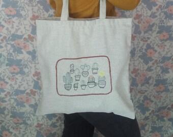 Bag Tote bag Ecru or embroidered, cactus, shopping bag linen, cotton mi mi