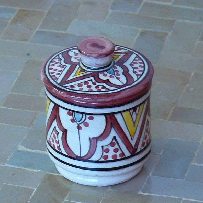 905621-0009 Moroccan Oriental box ceramic sugar nuts tea \u00d8 7 cm