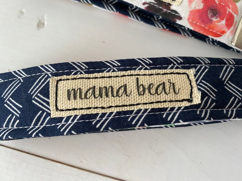 gifts Wristlet key fob floral keychain keychain Mama bear Floral and navy