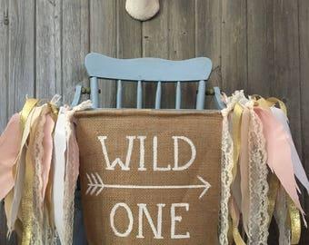 Wild One fabric feather banner, photo prop, highchair banner, garland, birthday banner, nursery decor, kids room decor