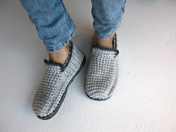 Häkeln Sie Herren Hausschuhe Mit Filz Sohlen Grau Loafer Etsy