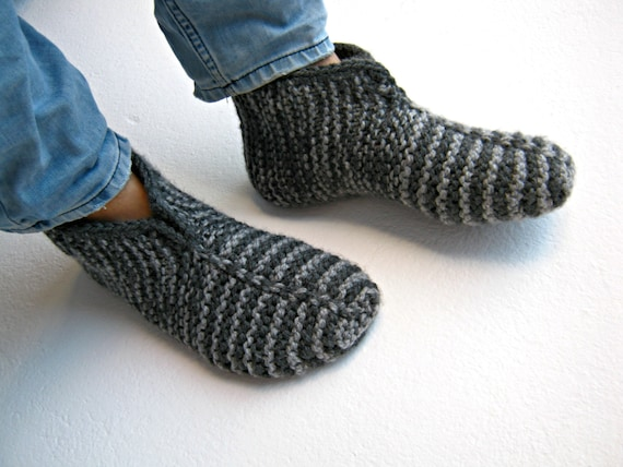 Knitted Socks Knitted Slippers Mens Socks Warm Socks Gray Etsy