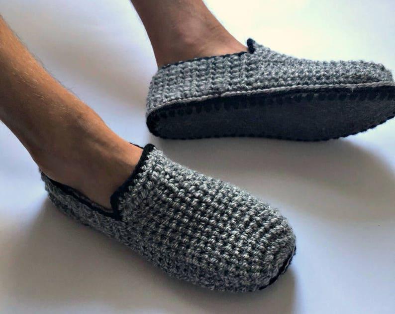 Felt Soles Slippers Mens Slippers Crochet Slippers Men Etsy
