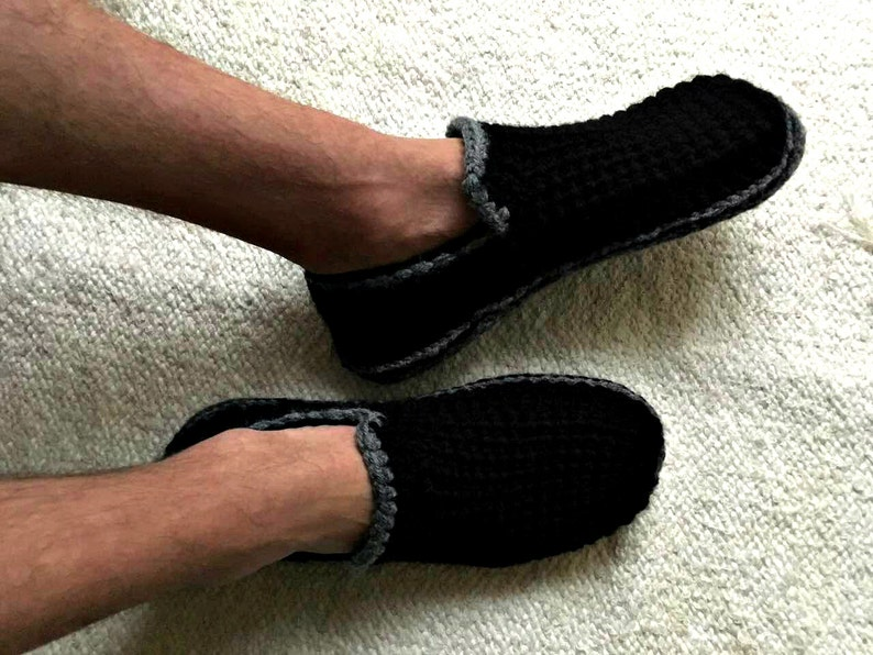 Black Mens Slippers With Felt Soles Crochet Slippers Etsy