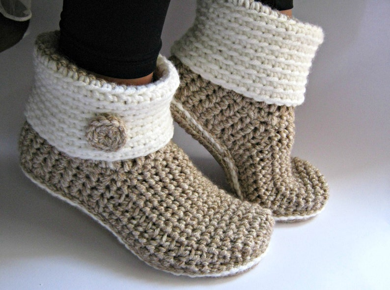 Crochet Slipper Boots with Eco Leather Soles Women Slippers image 0