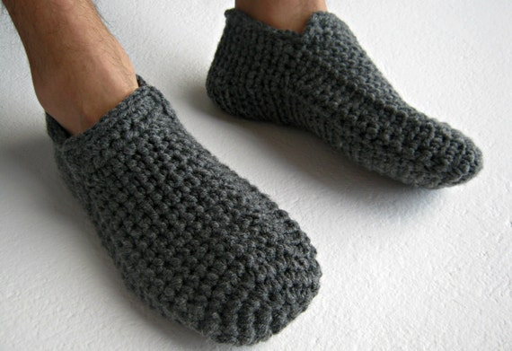 b96eeb868691 Crochet Slippers Gray Slippers Warm Slippers Slipper Socks