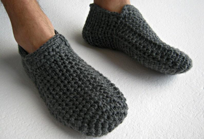 7360aad97d918c Crochet Slippers Gray Slippers Warm Slippers Slipper Socks