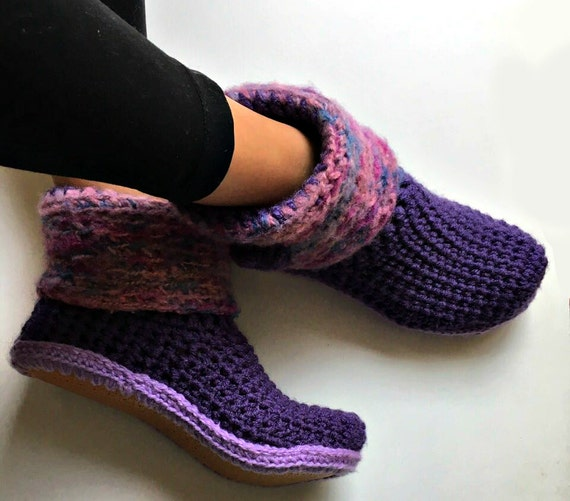 Purple Crochet Slipper Boots With Faux Leather Out Soles Etsy