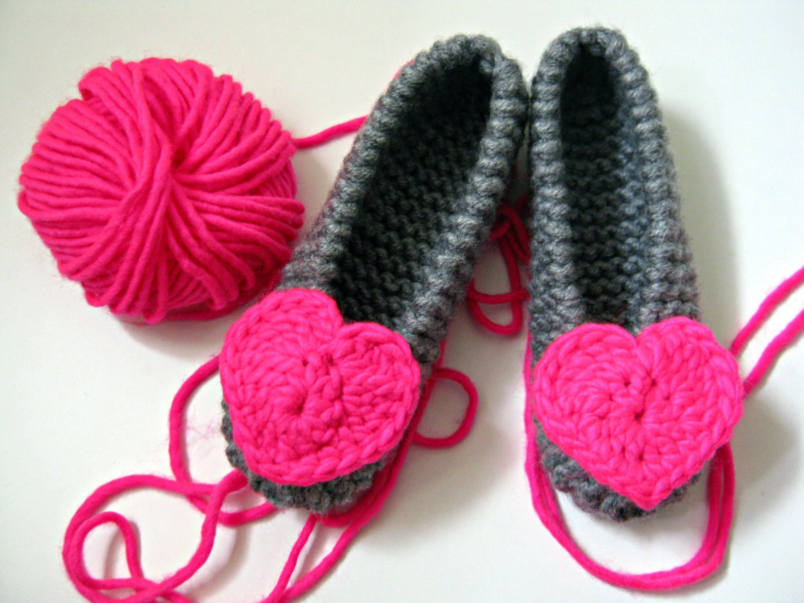 neon pink heart slippers, knitted ballet flats, girls slippers, womens slippers, houseshoes, wedding party gift, bridesmaid gift