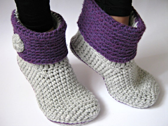 Crochet Womens Ankle Slipper Boots With Eco Leather Etsy