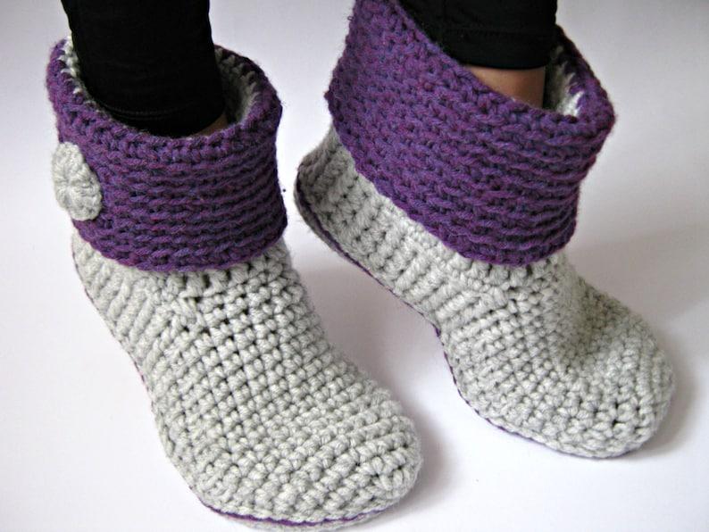 a22c4d470712e Crochet Women's Ankle Slipper Boots with Eco Leather Soles, Crochet  Slippers, Women Slippers, Crochet Boots, House Shoes, Gift for Women