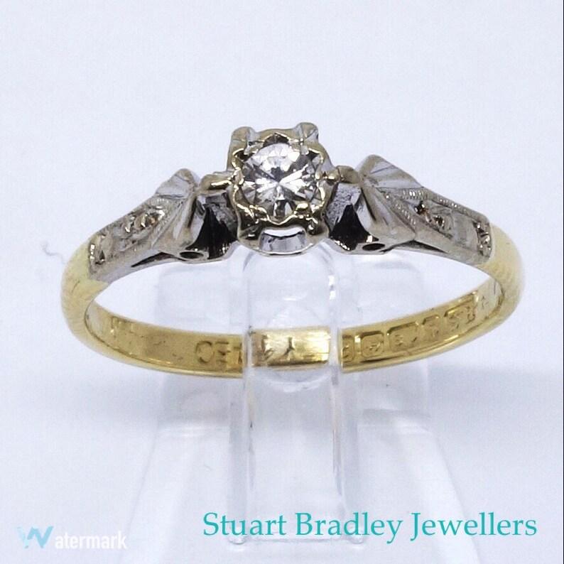 5usDimensionnement Bague M12uk6 Gratuit Livraison 1960 VintageAnnées Solitaire Taille Diamant rCoWxedB