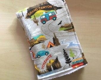 National Park Retro RV Burp Cloth
