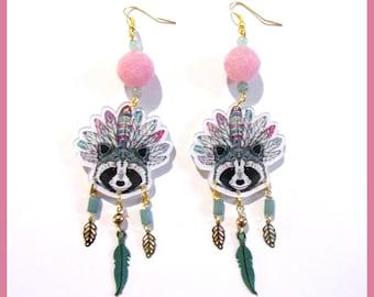 Raccoon Indian headdress earrings
