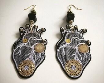 Textile anatomical heart earrings