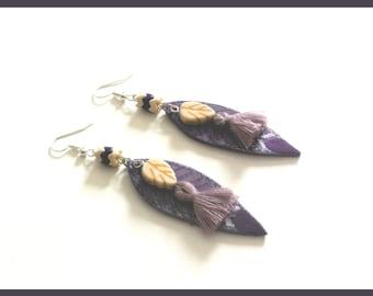 """Earrings leaves leather """"Purple leaf"""""""