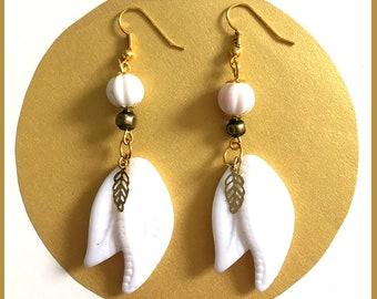 White leaf earrings