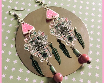 Zebra Indian headdress earrings