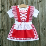 Baby's first dirndl, baby dirndl, red checkered christening robe, christening in Bavaria, baby body in the national costume style