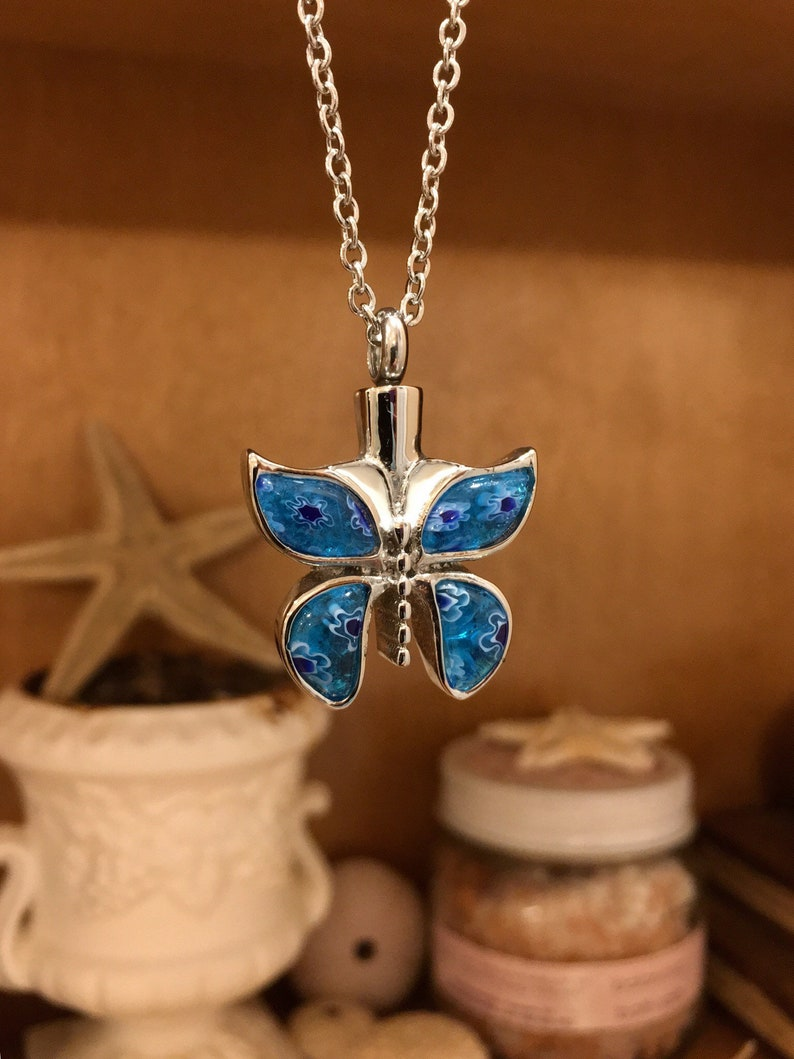 Stainless Steel With Blue Millefiori Glass Wings Urn Necklace Ashes Necklace  9526 Necklace For Ashes Butterfly Cremation Jewelry