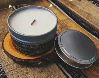Granite 4 oz Travel Tin Soy Candle with Wooden Wick-Nature Candle-Natural Candle-Outdoor Candle-travel candle-travel soy candle