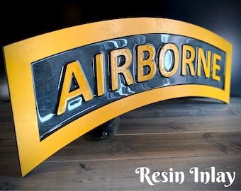 """24"""" Airborne / Ranger / Sapper Tab / Recon / Sniper / Mountain  Tab Military Gift Plaque Sign"""