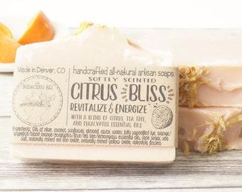 Citrus Bliss Bar   Natural Citrus Soap, Citrus Scented Soap, Lightly Scented Soap, Homemade Citrus Soap, Citrus Soap, Citrus Soap Bar