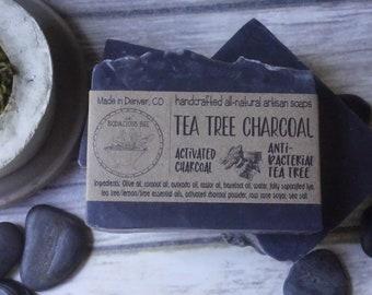 Tea Tree Charcoal Soap   Facial Soap, Activated Charcoal Soap, Tea Tree Face Soap, Detox Soap, Acne Soap, Black Soap, Face Soap, Large 5oz