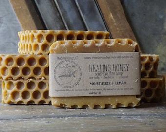 Healing Honey Soap | Moisturizing Soap, Acne Soap, Eczema Soap, Face Soap, Homemade Soap, Gentle, Unscented, Homemade Soap