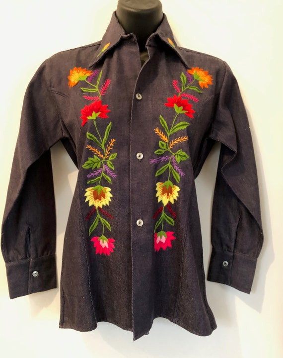 Vintage 60's denim shirt/ jacket with floral embro
