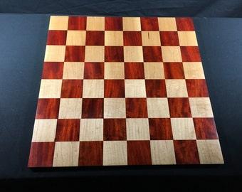 Chess Board Handmade Wooden Padauk and Maple