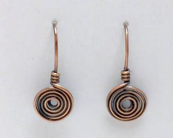 Copper Wire Earrings, Copper Spiral Earrings, Copper Wire Jewelry, Ready To Ship, Most Sold Item, Gifts, ArizonaCopperCraft, FREE SHIPPING